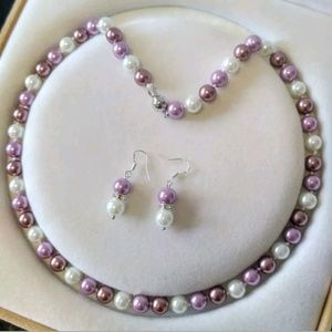 Jewelry - 8mm Purple/lavender/white  necklace/earrings set